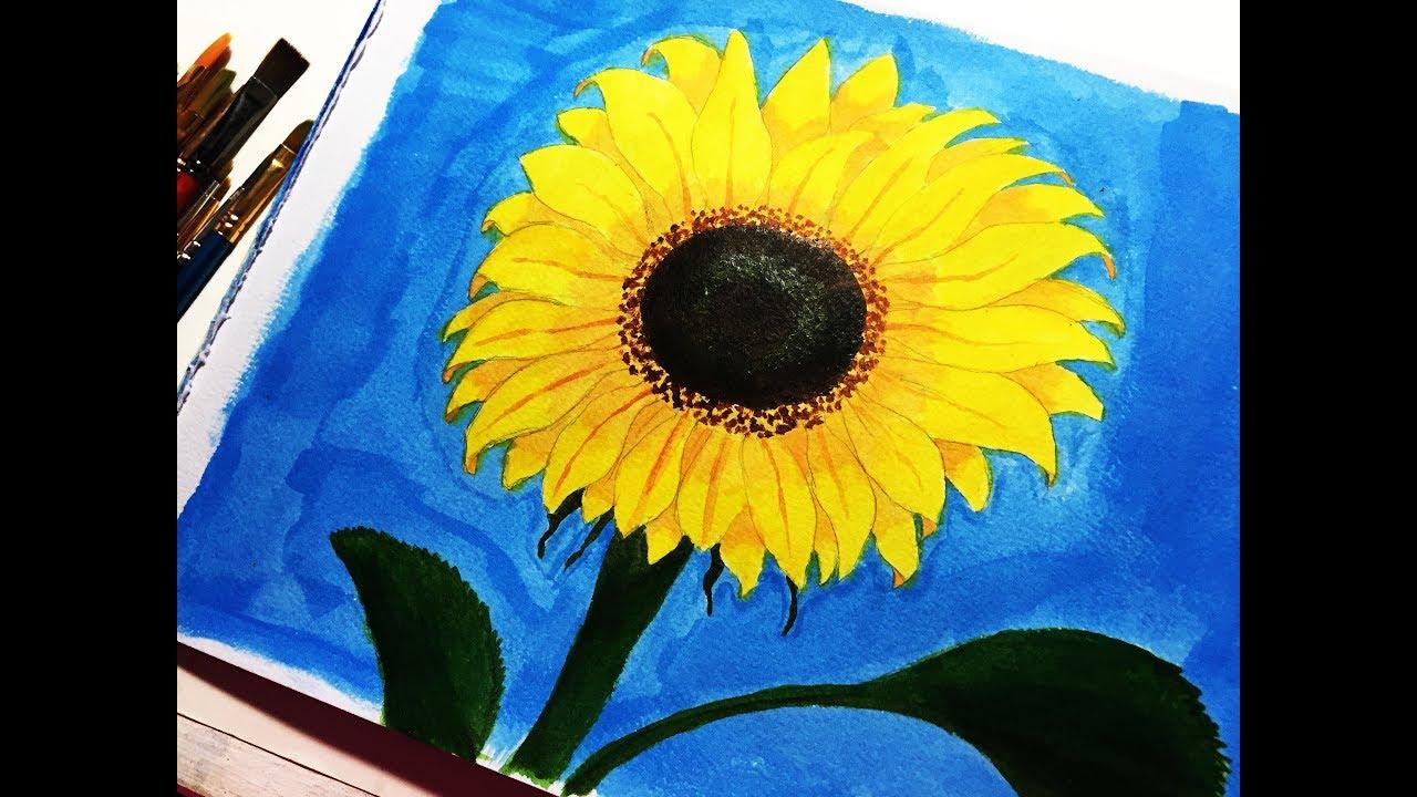 COMO PINTAR UN GIRASOL / pintura acrílica super FACIL ...