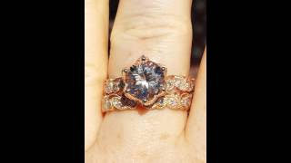 Vintage Inspired Rose Gold Filigree Floral Ivy Wedding Set: Engagement Ring Mount and Wedding Band