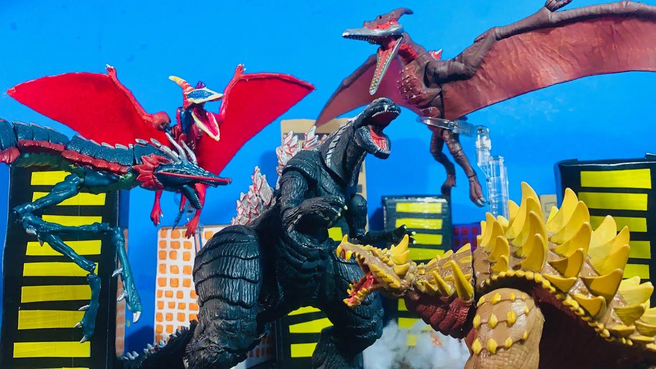 Download Godzilla singular point vs Anguirus vs manda vs rodan an epic battle stop motion by EG M