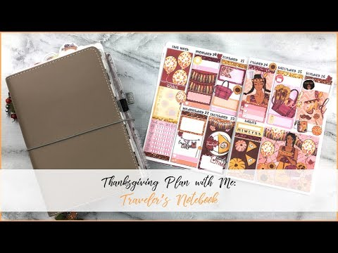 Thanksgiving Plan with Me in my Traveler's Notebook | Feat. Bunny in Flight Planner