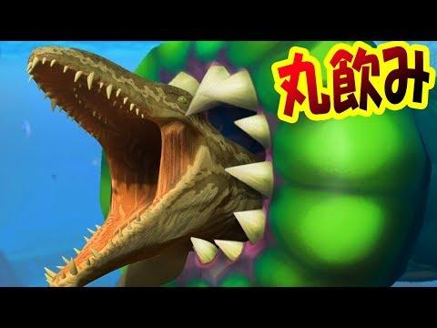 巨大吸血ヒルになってサメもモササウルスもすべてを吸いつくす!! 噛みつきを無効にする吸血攻撃がヤバい!! !! サメの海で弱肉強食の壮絶バトル!! - Feed and Grow Fish #106