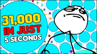 AGARIO WORLD RECORD: 1000 MASS TO 31,000 MASS IN 5 SECONDS! CRAZY 37 000 AGAR.IO SCORE! (Agario #66)