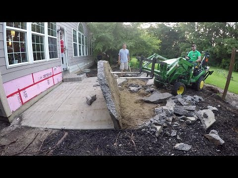 Compact Tractor Rips out Concrete Patio