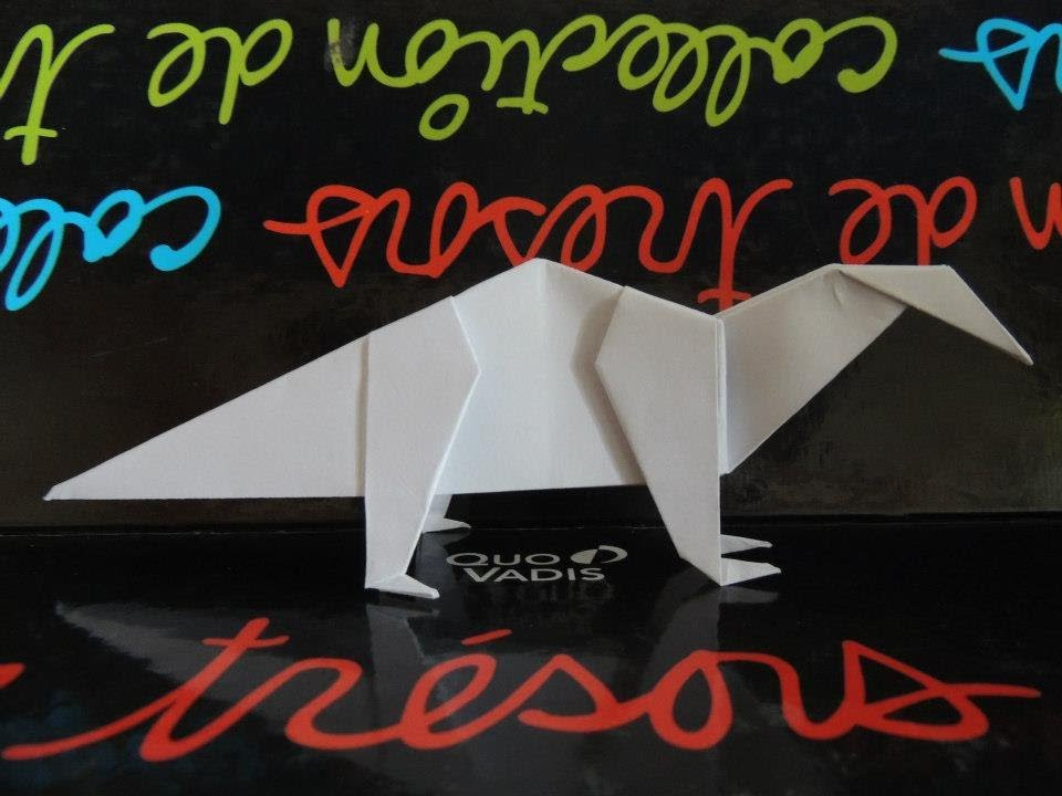 Origami Le Dinosaure En Papier Youtube