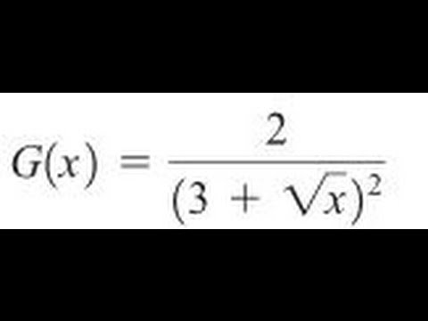 Express the function in the form f of g of h for 2/(3+sqrt(x))^2 ...