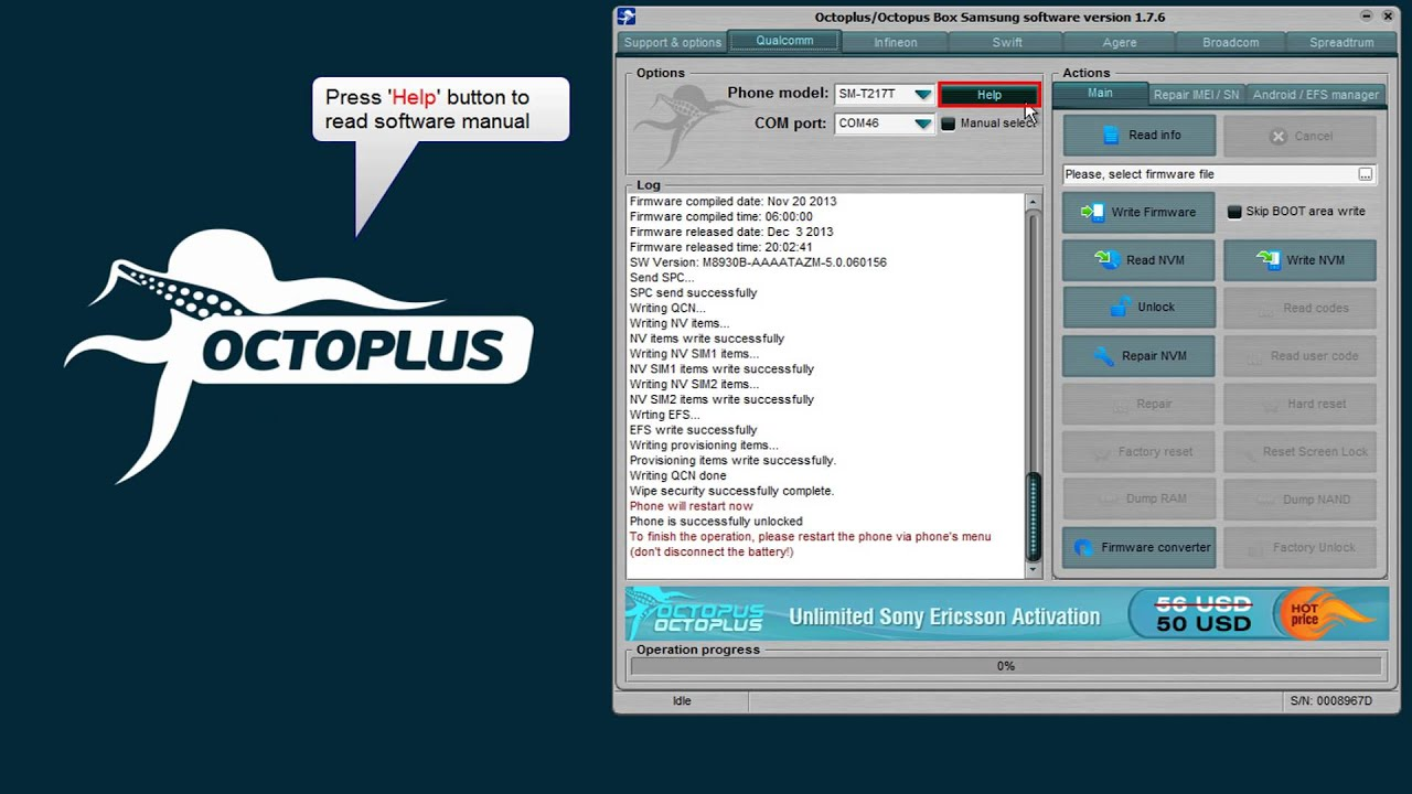 Samsung SM-T217T Unlock and Repair IMEI with Octoplus Box