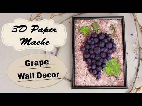 DIY 3D Paper Mache Grape Bunch Wall Decor