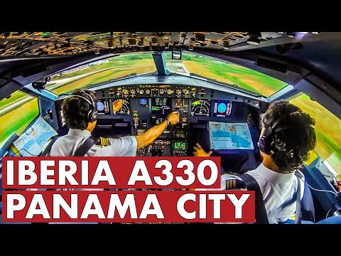 Piloting IBERIA Airbus A330 Out Of Panama
