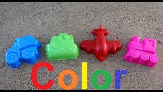Learn colors with kids sand shapes fun trains/Учим цвета с детьми в песочнице