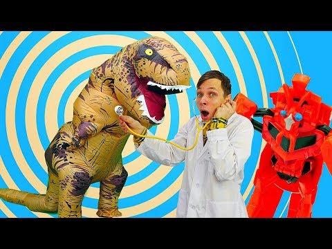 Видео про игрушки - Динозавр из Юрского периода у Доктора Ой! - Игры для мальчиков.
