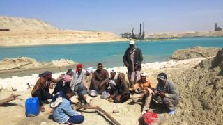 See the Suez Canal workers having lunch at a rest stop work Baltdbeh