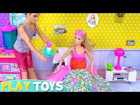 Play Barbie Doll Surprise Birtay Breakfast in Bed Toys