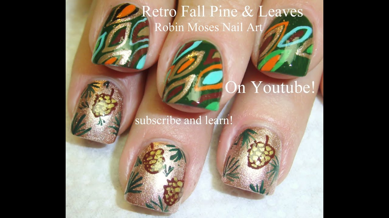 Simple Leaf Nail Art: DIY Fall Pine Cones And Abstract