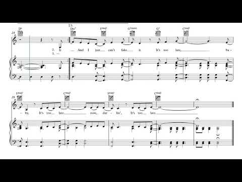 It's Too Late (piano)