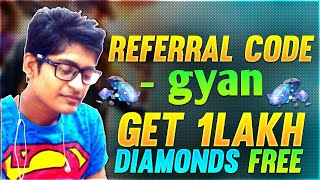 1,00,000 Diamond Free Fire Live Binod Op Gameplay   Referral Code    Gyan
