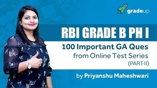 RBI Grade B 100 imp GA questions from Test Series - Part 2
