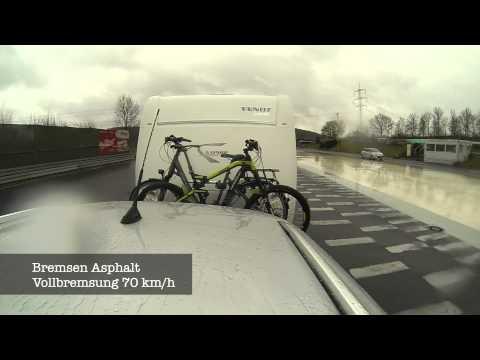 Wohnwagen Bremstest / Thule Fahrradträger auf Deichsel