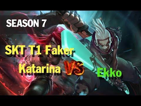 Season 7 SKT T1 Faker Katarina vs Ekko l LOL League of legends