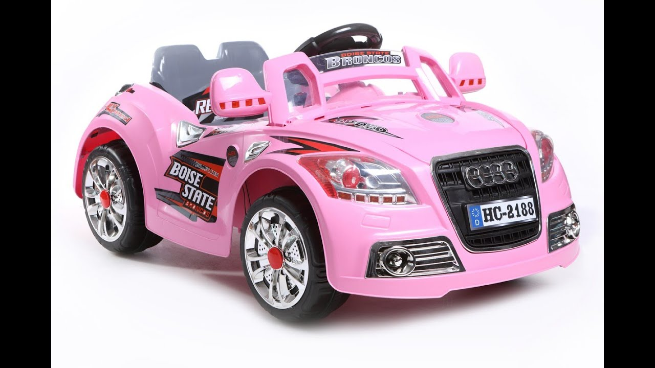 audi kids ride on car pink 12v battery power youtube