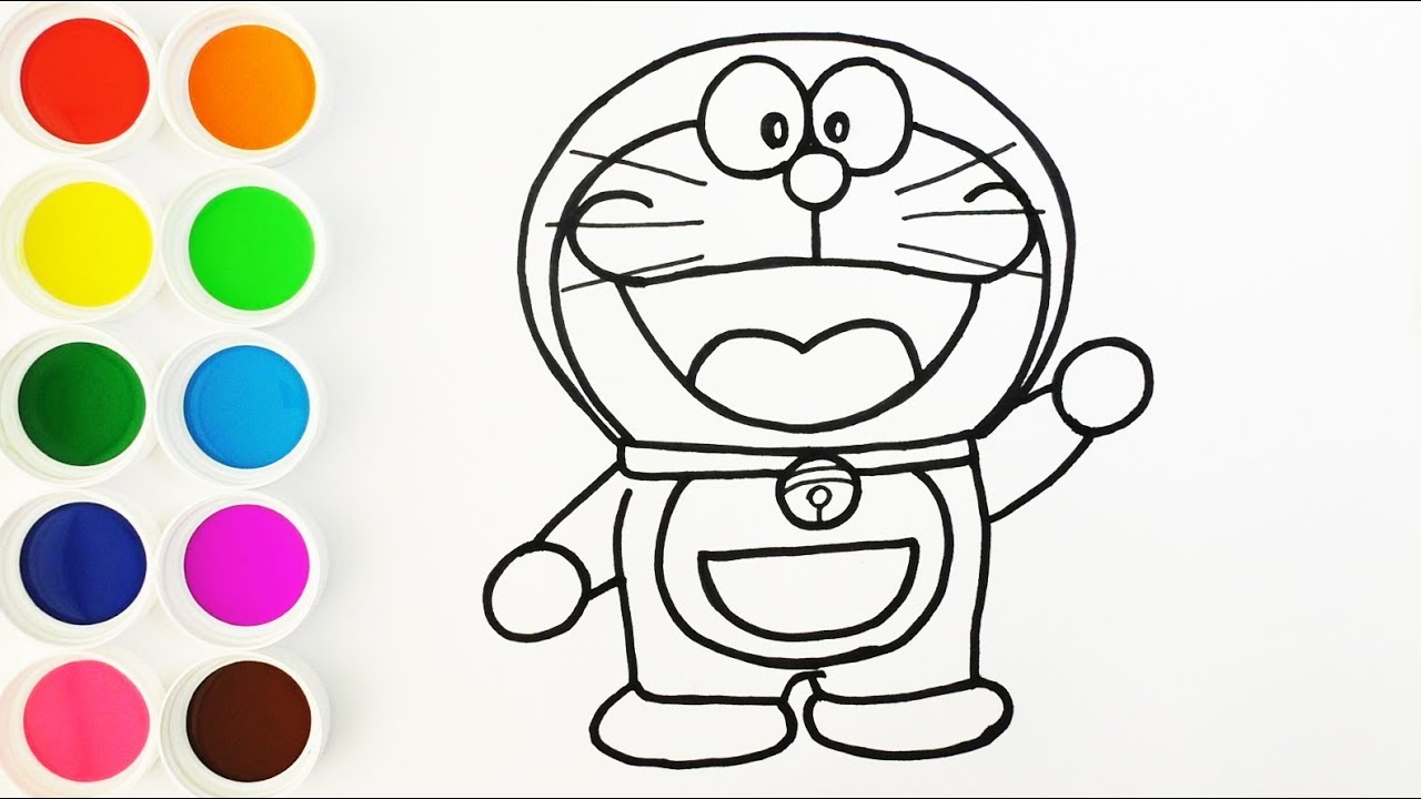 Dibuja Y Colorea A Doraemon De Arco Iris Dibujos Para Niños Learn Colors Funkeep
