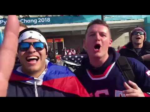Русские и американцы встретились в Олимпийском парке перед хоккеем.