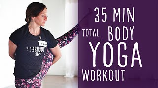 35 Minute Total Body Workout Yoga to Bird of Paradise with Fightmaster Yoga