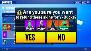 How To REFUND SKIN NOW IN FORTNITE!! Fortnite Battle Royale RETURN REQUEST!