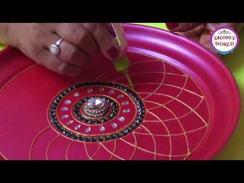 DIY How To Make Decorative Pooja /Aarti Thali Plate At Home ( in Hindi ) by Jyoti Sachdeva.