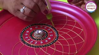 DIY How To Make Decorative Pooja /Aarti Thali Plate At Home ( in Hindi ) by Jyoti Sachdeva.