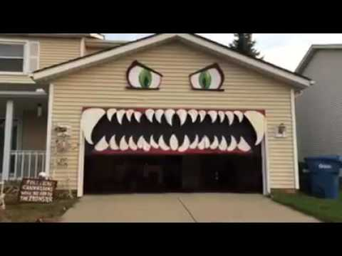 Garage Door Looks Like Monster Youtube