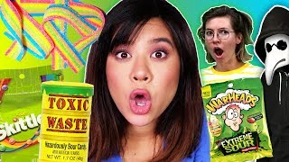 Last to Stop Eating SOUR CANDY Wins $10,000 Challenge (Evil Magician Prank?)