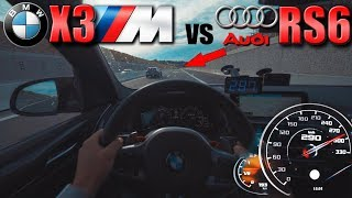 BMW X3M Competition meets Audi RS6 on German Autobahn✔