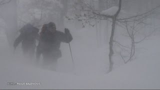Extreme blizzard conditions, where Bura wind blows from (winter hike)  Velebit