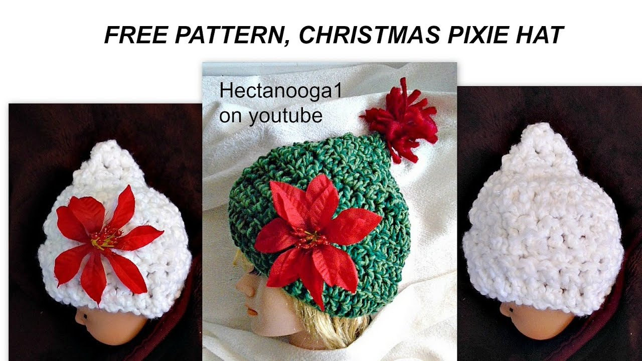 Crochet Christmas Hats Adults.Free Crochet Christmas Pixie Hat All Sizes From Newborn To Adult
