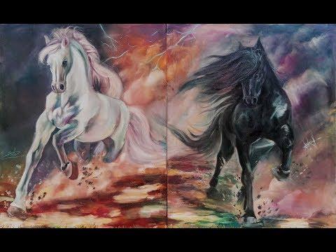 лошади на холсте масляной краской. живопись,модульная картина.