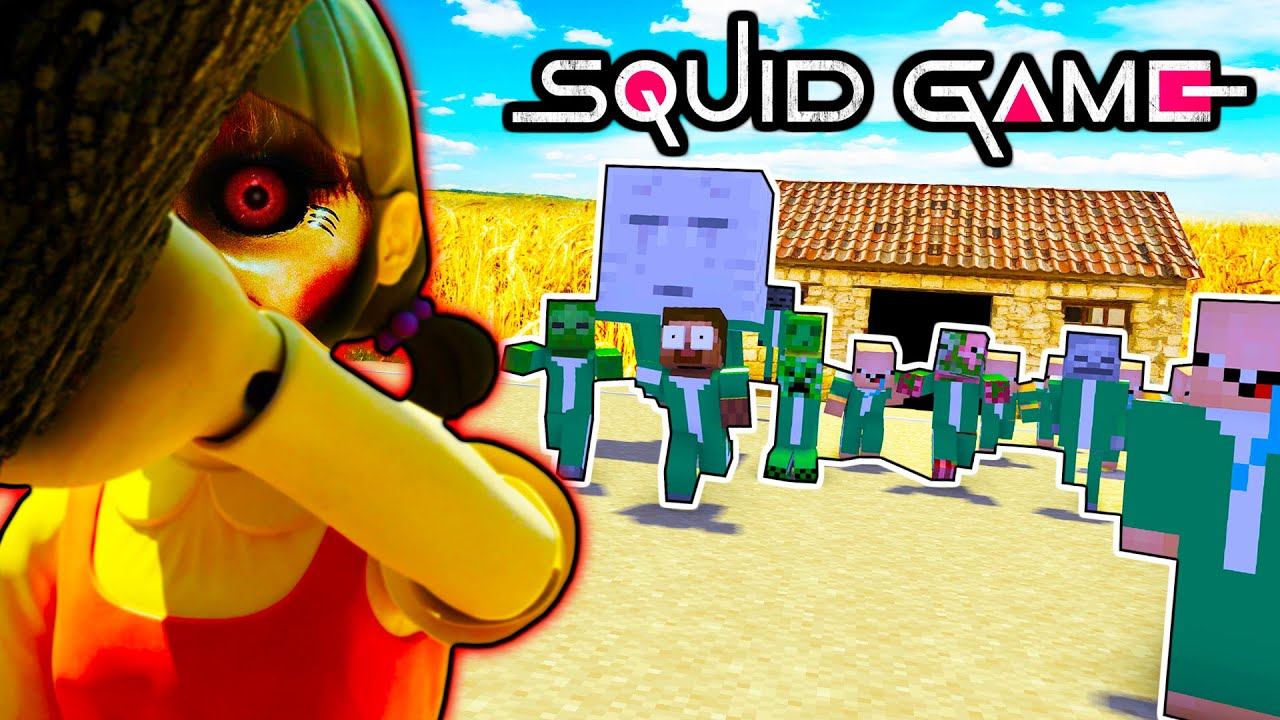 Monster School : SQUID GAME CHALLENGE (Red Light Green Light) - Thrilling Funny Minecraft Animation
