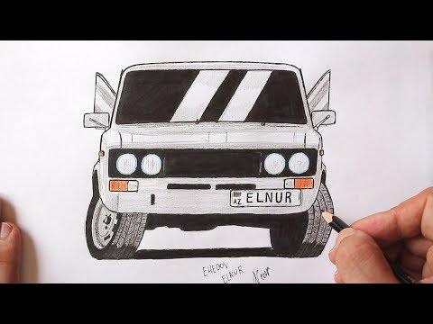 ♛ Как нарисовать машину ВАЗ-2106 поэтапно ❤ Ахадов Эльнур