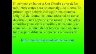 Conjuro a San Onofre para el Dinero