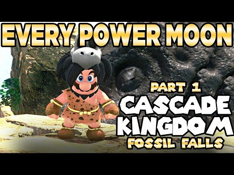 Every Power Moon in Super Mario Odyssey Part 1 - Cascade Kingdom Fossil Falls | Austin John Plays