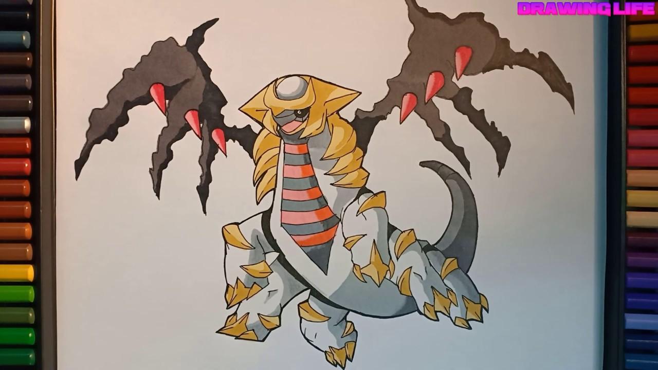 cách vẽ pokemon huyền thoại Giratina-Bảo bối thần kì-how to draw