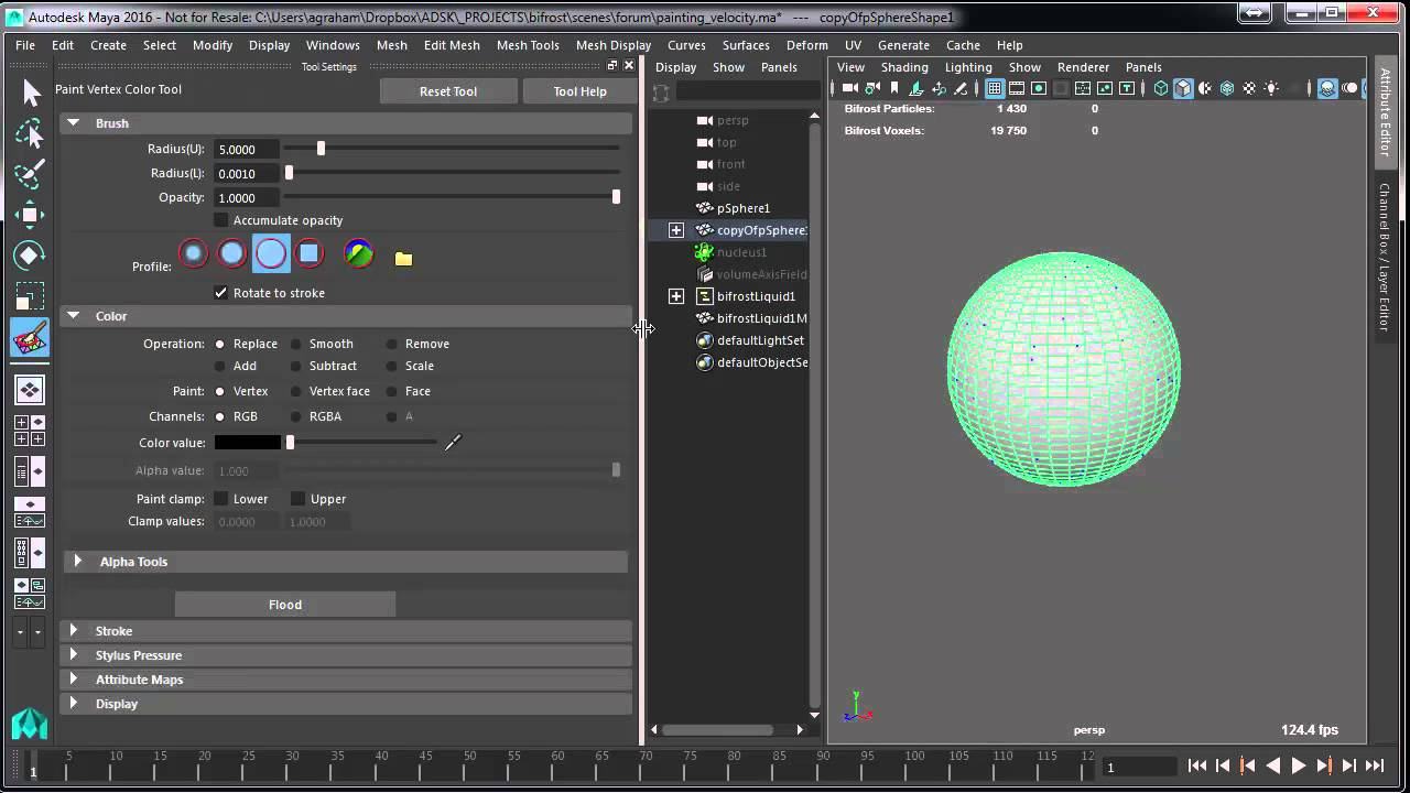 ColorSets Can Drive Emission Velocity in Maya Bifrost