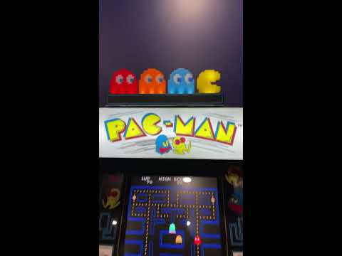 """PAC-MAN """"THE Arcade1up"""" W/ Cool TOPPER, EATS THE FAKE Pac-Man GIANT JOYSTICK 4 Easy quick SNACK! from Arcade Will"""