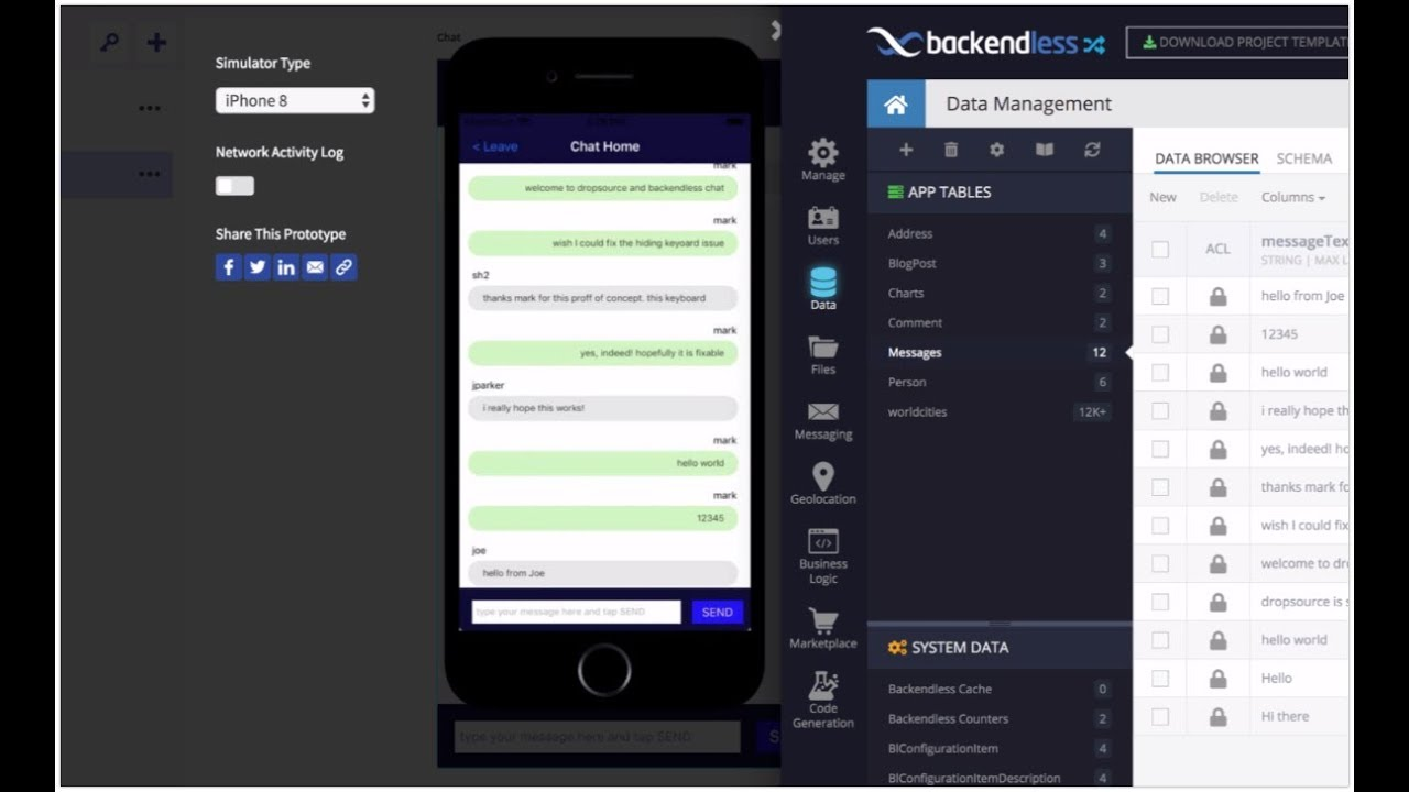 Developing a Mobile Chat App Without Any Coding | Backendless