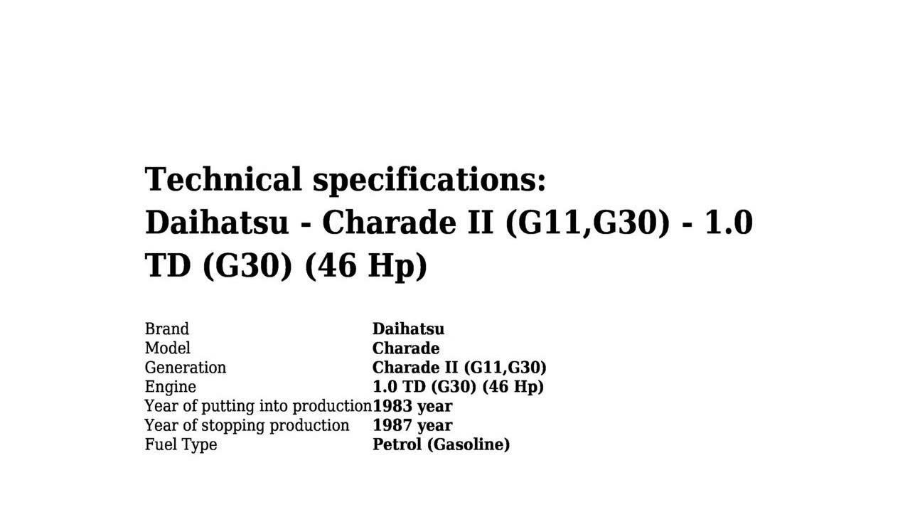 Wiring Diagram Daihatsu Charade G11 Free Download Diagrams Td Ii G11g30 1 0 G30 46 Hp Technical Specifications At Saab 9 3