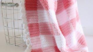 Crochet Pink Gingham Blanket with Eyelet Border