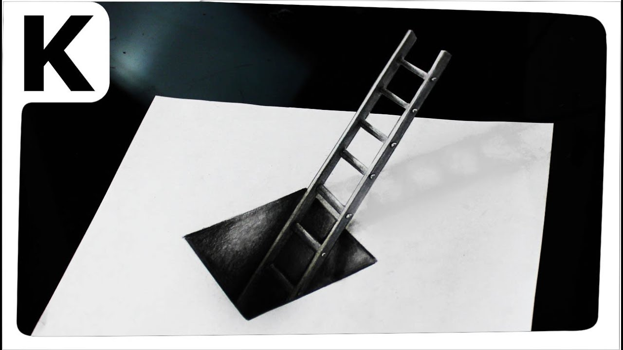 How to draw 3D- optical illusion- hole with ladder - Iluzja ...