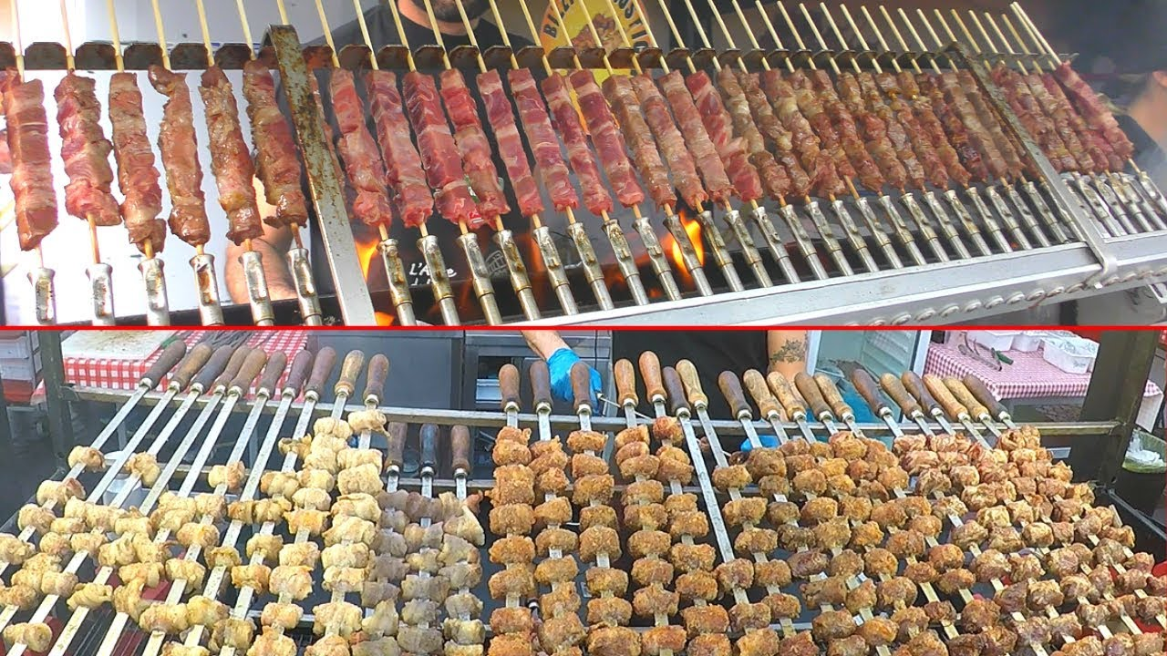Italy Street Food CHALLENGE. Pork Skewers vs Lamb Skewers. 'Bombette' vs 'Arrosticini