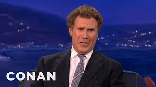 will ferrell is all busted up over twilight s kristen stewart robert pattinson conan on tbs