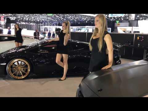 Beautiful models at the DMC booth of Geneva International Motor Show 2017