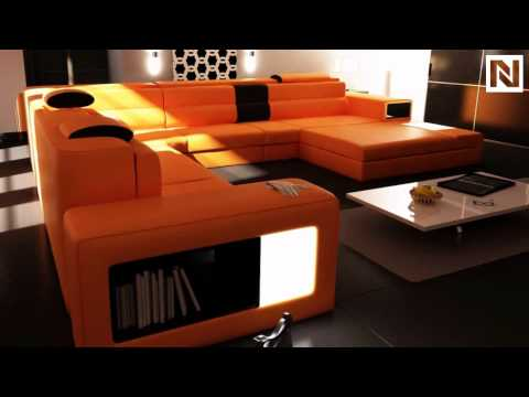 Model: Polaris (5022)   Orange Contemporary Leather Sectional Sofa  VGEV5022 OR From VIG Furniture   YouTube